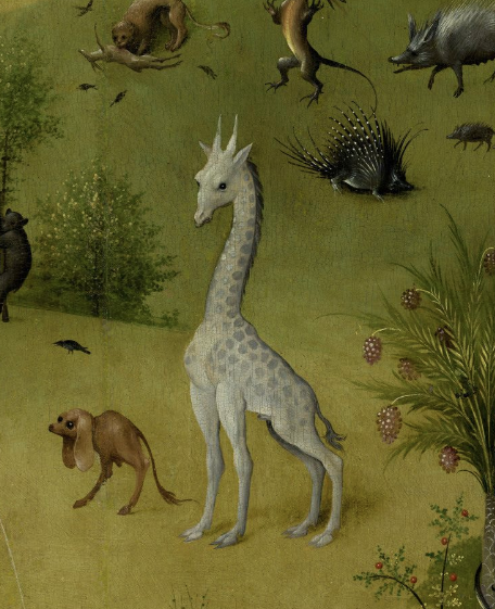 "close-up view of the giraffe from Hieronymous Bosch's triptych ""The Garden of Earthly Delights"""